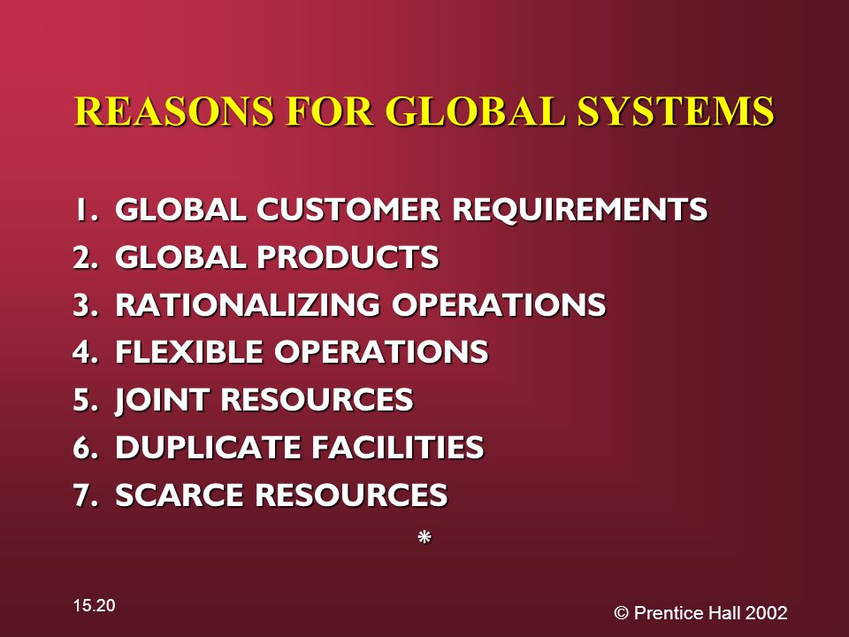 © Prentice Hall 2002 15.20 REASONS FOR GLOBAL SYSTEMS 1.