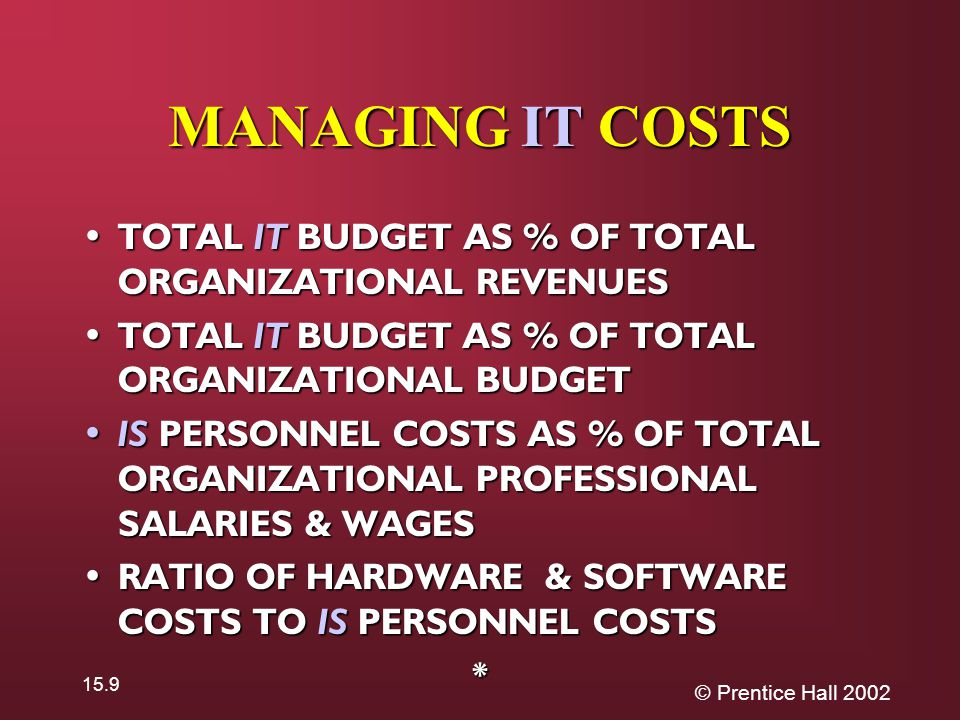 © Prentice Hall 2002 15.9 MANAGING IT COSTS TOTAL IT BUDGET AS % OF TOTAL ORGANIZATIONAL REVENUES TOTAL IT BUDGET AS % OF TOTAL ORGANIZATIONAL REVENUES TOTAL IT BUDGET AS % OF TOTAL ORGANIZATIONAL BUDGET TOTAL IT BUDGET AS % OF TOTAL ORGANIZATIONAL BUDGET IS PERSONNEL COSTS AS % OF TOTAL ORGANIZATIONAL PROFESSIONAL SALARIES & WAGES IS PERSONNEL COSTS AS % OF TOTAL ORGANIZATIONAL PROFESSIONAL SALARIES & WAGES RATIO OF HARDWARE & SOFTWARE COSTS TO IS PERSONNEL COSTS RATIO OF HARDWARE & SOFTWARE COSTS TO IS PERSONNEL COSTS*