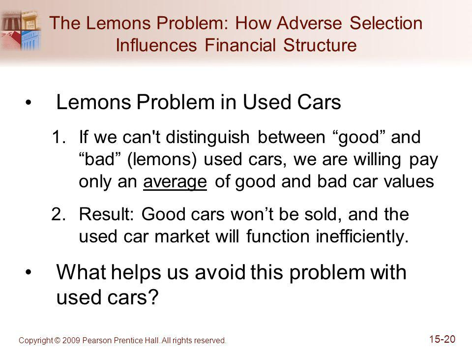 Copyright © 2009 Pearson Prentice Hall. All rights reserved. 15-20 The Lemons Problem: How Adverse Selection Influences Financial Structure Lemons Pro