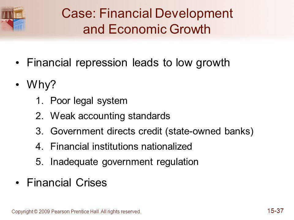 Copyright © 2009 Pearson Prentice Hall. All rights reserved. 15-37 Case: Financial Development and Economic Growth Financial repression leads to low g