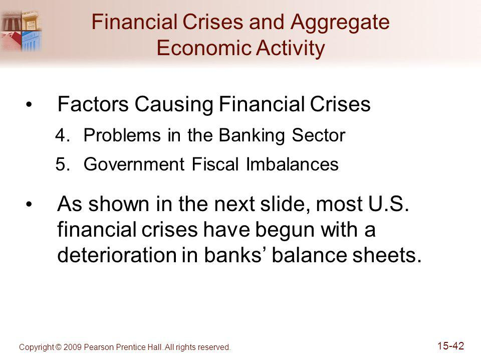 Copyright © 2009 Pearson Prentice Hall. All rights reserved. 15-42 Financial Crises and Aggregate Economic Activity Factors Causing Financial Crises 4