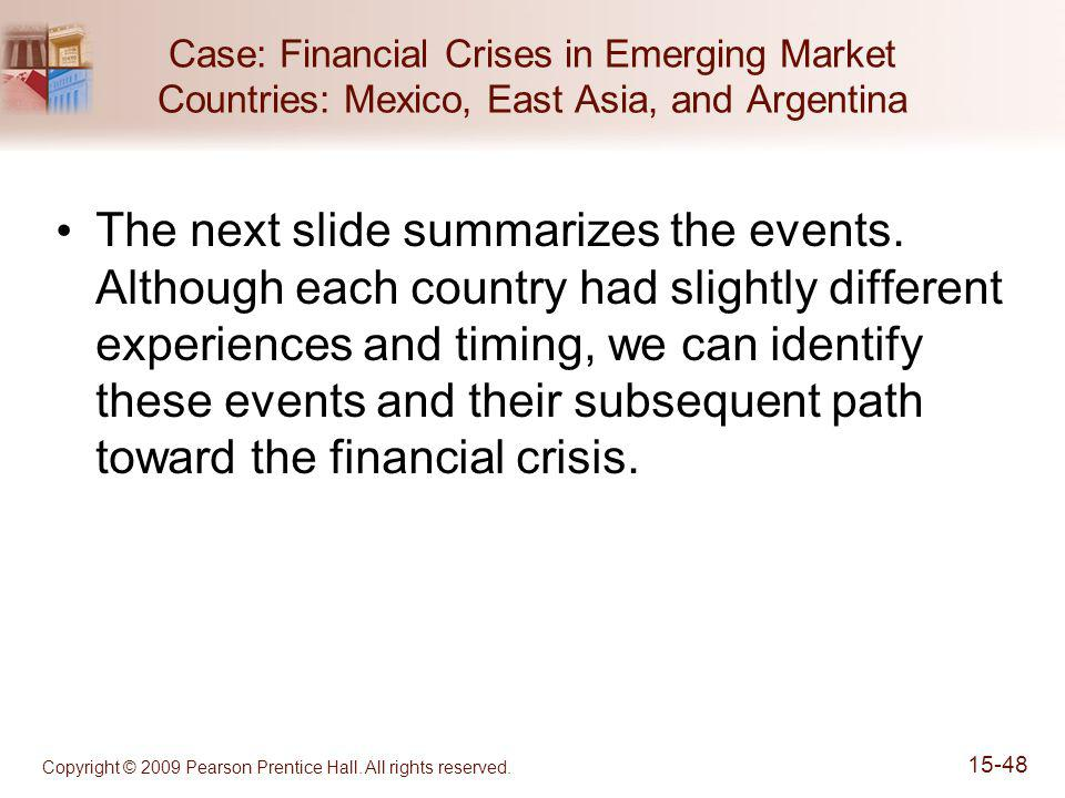 Copyright © 2009 Pearson Prentice Hall. All rights reserved. 15-48 Case: Financial Crises in Emerging Market Countries: Mexico, East Asia, and Argenti