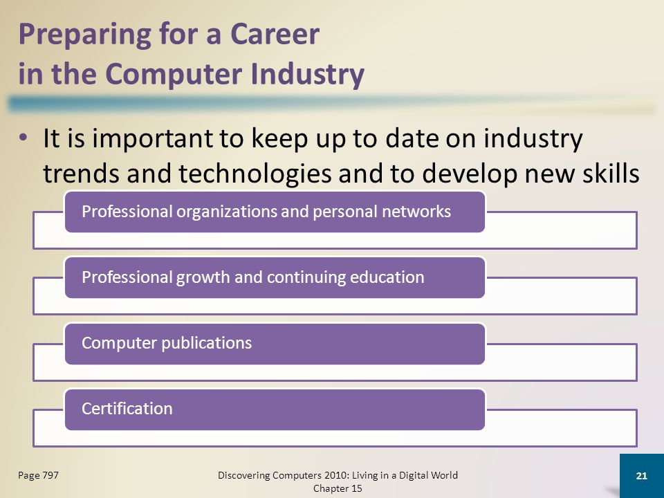 Preparing for a Career in the Computer Industry It is important to keep up to date on industry trends and technologies and to develop new skills Disco