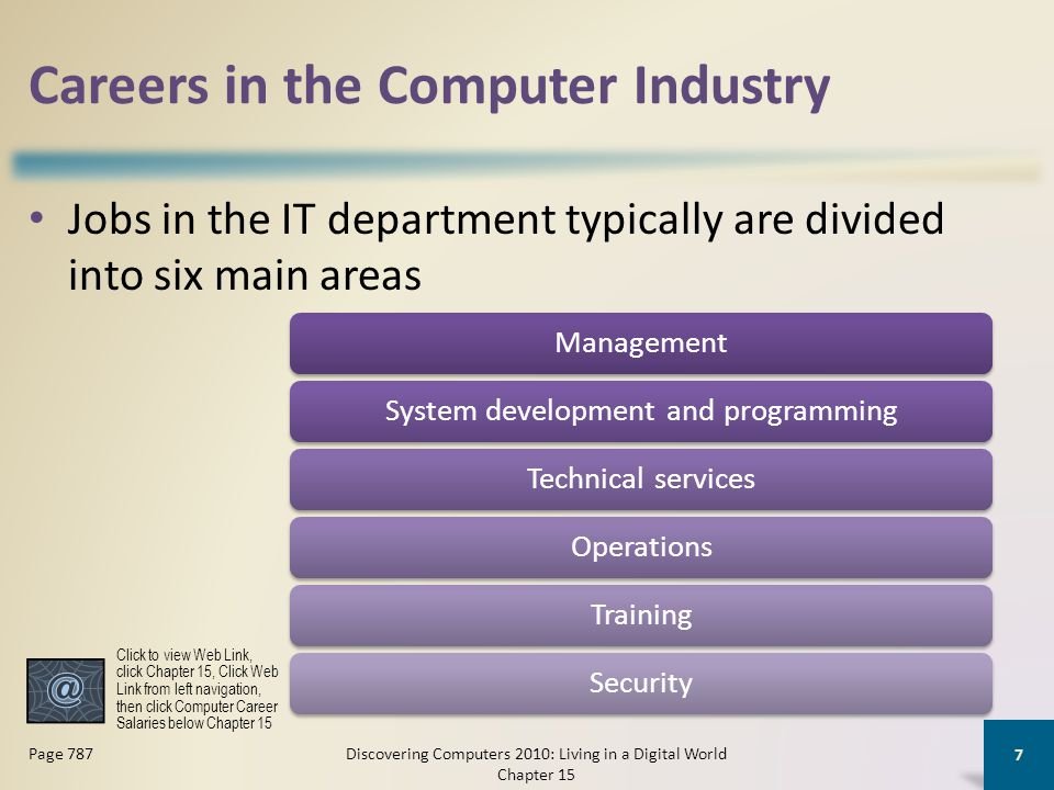Careers in the Computer Industry Jobs in the IT department typically are divided into six main areas Discovering Computers 2010: Living in a Digital World Chapter 15 7 Page 787 ManagementSystem development and programmingTechnical servicesOperationsTrainingSecurity Click to view Web Link, click Chapter 15, Click Web Link from left navigation, then click Computer Career Salaries below Chapter 15