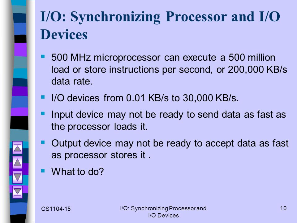 CS1104-15 I/O: Synchronizing Processor and I/O Devices 10 I/O: Synchronizing Processor and I/O Devices  500 MHz microprocessor can execute a 500 mill