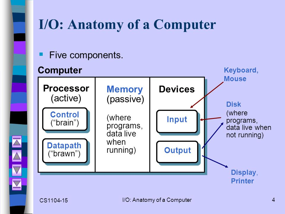 """CS1104-15 I/O: Anatomy of a Computer4  Five components. Disk (where programs, data live when not running) Processor (active) Computer Control (""""brain"""