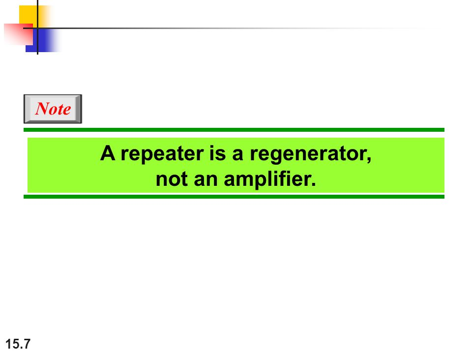 15.7 A repeater is a regenerator, not an amplifier. Note