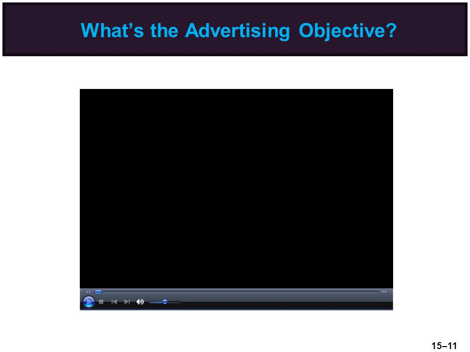 What's the Advertising Objective? 15–11