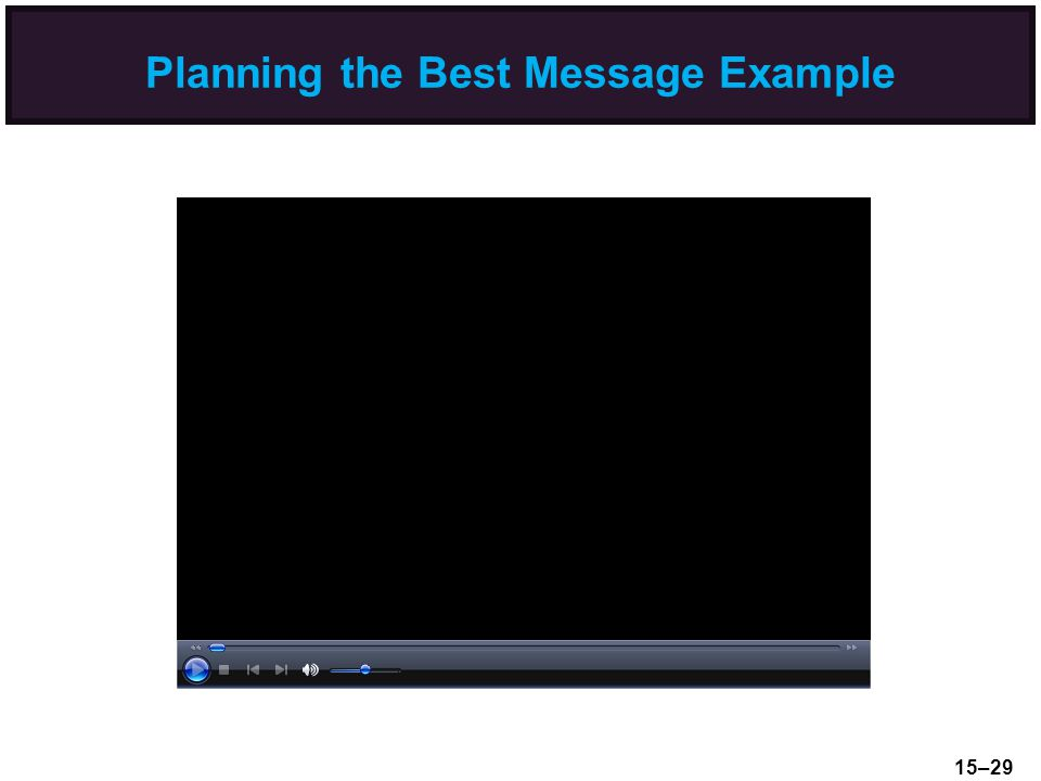 Planning the Best Message Example 15–29