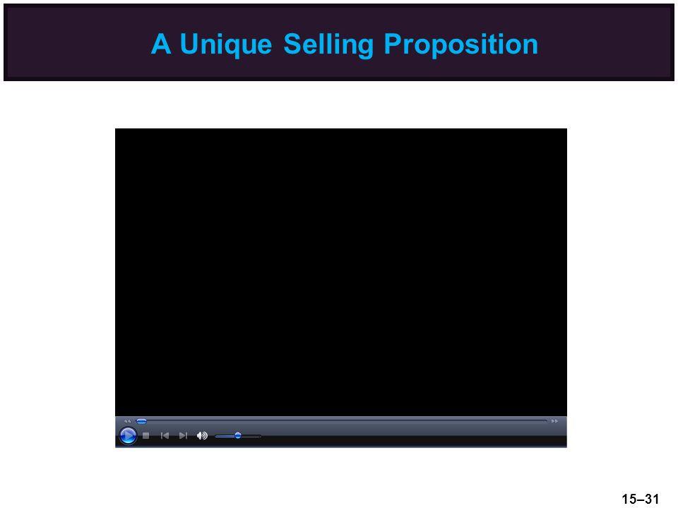 A Unique Selling Proposition 15–31