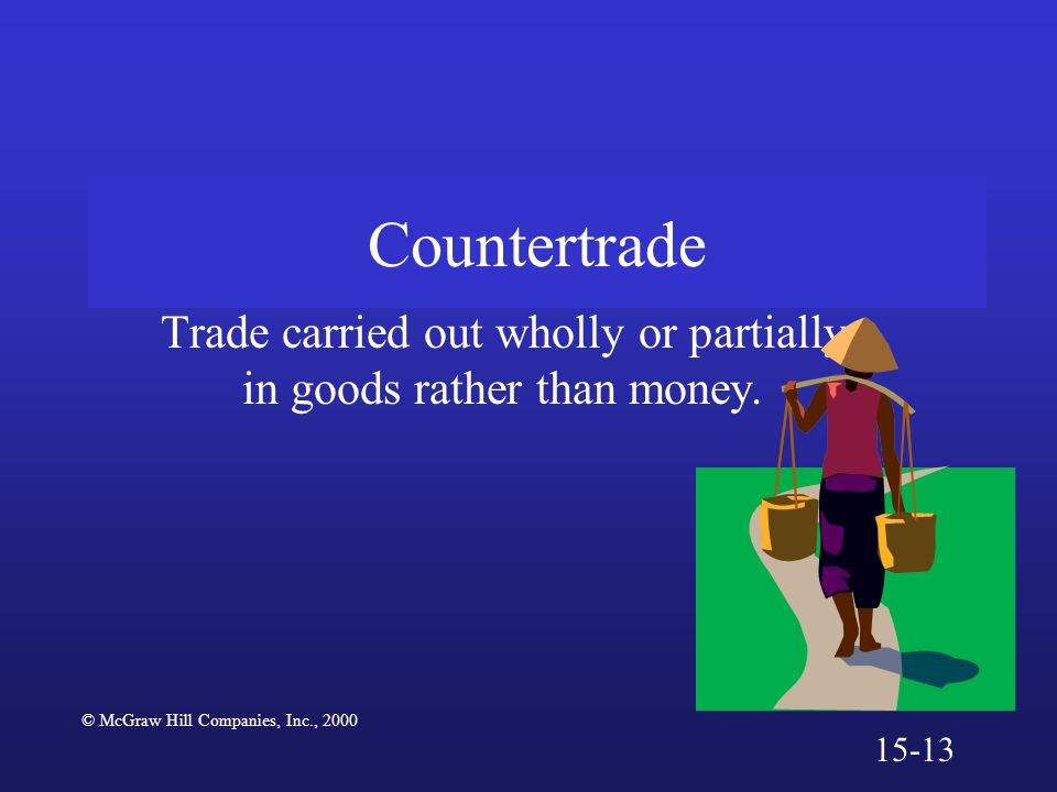Countertrade Trade carried out wholly or partially in goods rather than money. © McGraw Hill Companies, Inc., 2000 15-13
