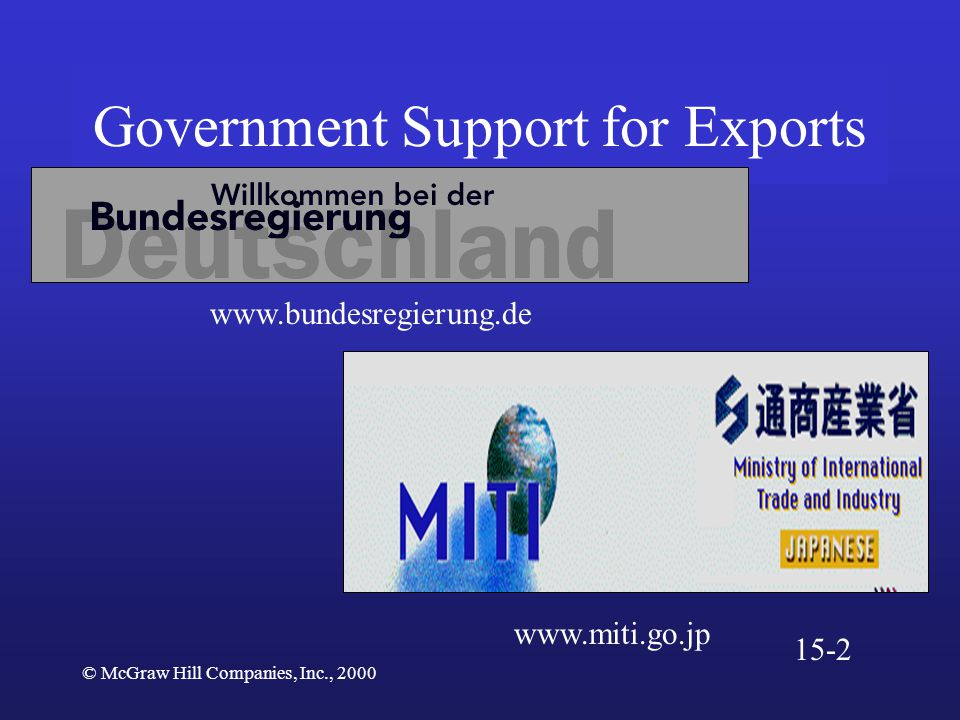 © McGraw Hill Companies, Inc., 2000 Government Support for Exports www.bundesregierung.de www.miti.go.jp 15-2