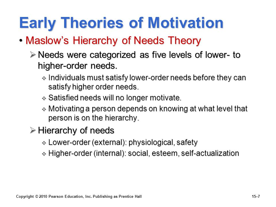 Copyright © 2010 Pearson Education, Inc. Publishing as Prentice Hall15–7 Early Theories of Motivation Maslow's Hierarchy of Needs TheoryMaslow's Hiera