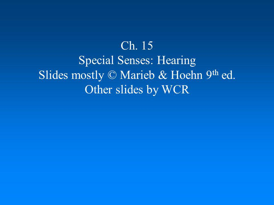 Ch. 15 Special Senses: Hearing Slides mostly © Marieb & Hoehn 9 th ed. Other slides by WCR