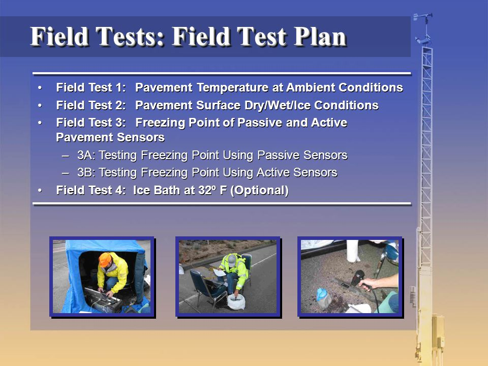 Field Test 1:Pavement Temperature at Ambient Conditions Field Test 2:Pavement Surface Dry/Wet/Ice Conditions Field Test 3:Freezing Point of Passive an