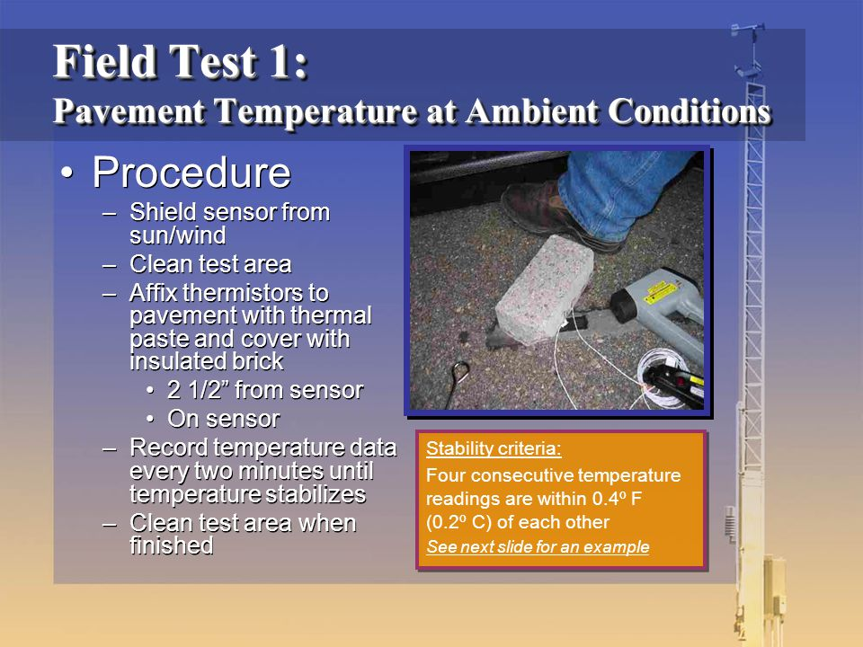 """Procedure –Shield sensor from sun/wind –Clean test area –Affix thermistors to pavement with thermal paste and cover with insulated brick 2 1/2"""" from s"""