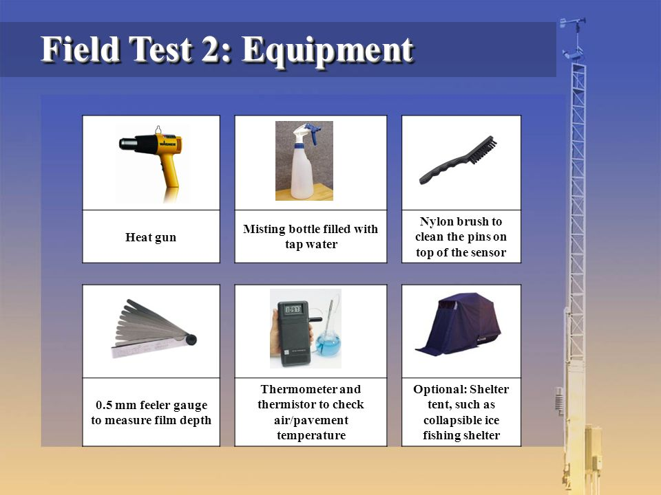 Heat gun Misting bottle filled with tap water Nylon brush to clean the pins on top of the sensor 0.5 mm feeler gauge to measure film depth Thermometer and thermistor to check air/pavement temperature Optional: Shelter tent, such as collapsible ice fishing shelter Field Test 2: Equipment