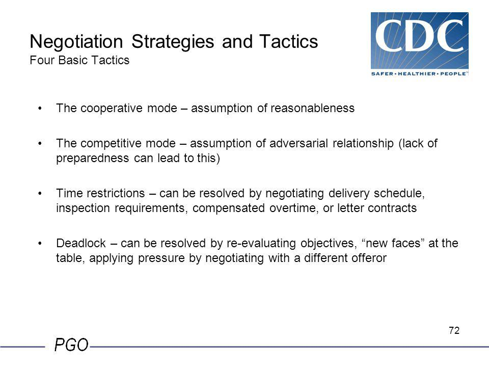 71 Negotiation Guidelines Techniques: Approach offeror with respect Caucus - Break away from formal negotiations for the team to –Consider a point –Ev