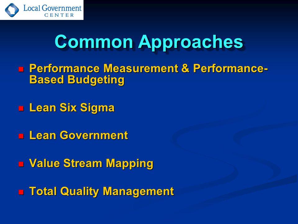 Common Approaches Performance Measurement & Performance- Based Budgeting Performance Measurement & Performance- Based Budgeting Lean Six Sigma Lean Si