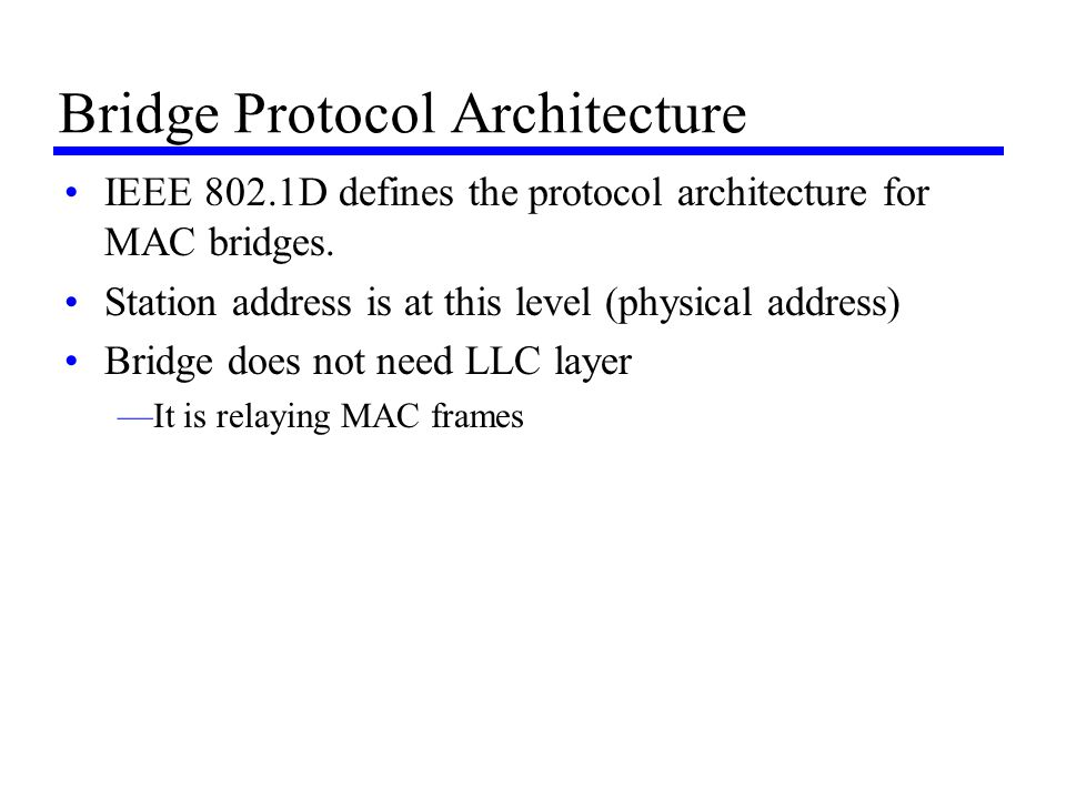 Bridge Protocol Architecture IEEE 802.1D defines the protocol architecture for MAC bridges. Station address is at this level (physical address) Bridge