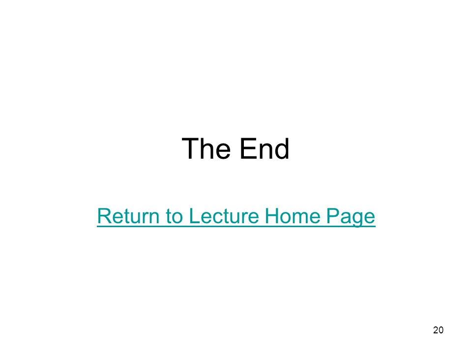 20 The End Return to Lecture Home Page