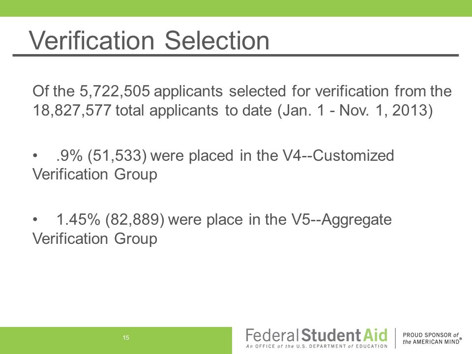 Verification Selection Of the 5,722,505 applicants selected for verification from the 18,827,577 total applicants to date (Jan.