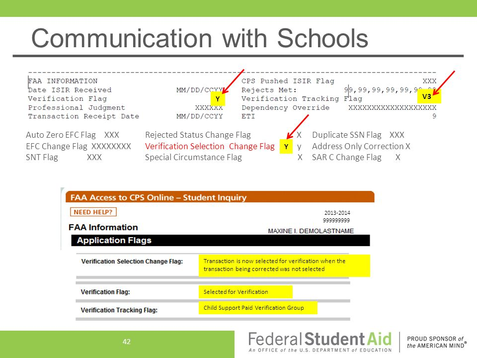 Communication with Schools Y V3 Auto Zero EFC Flag XXX Rejected Status Change Flag X Duplicate SSN Flag XXX EFC Change Flag XXXXXXXX Verification Sele