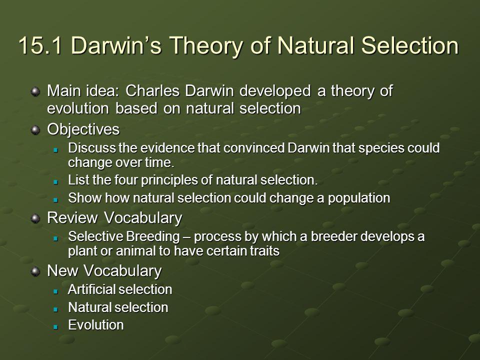 15.1 Darwin's Theory of Natural Selection Main idea: Charles Darwin developed a theory of evolution based on natural selection Objectives Discuss the