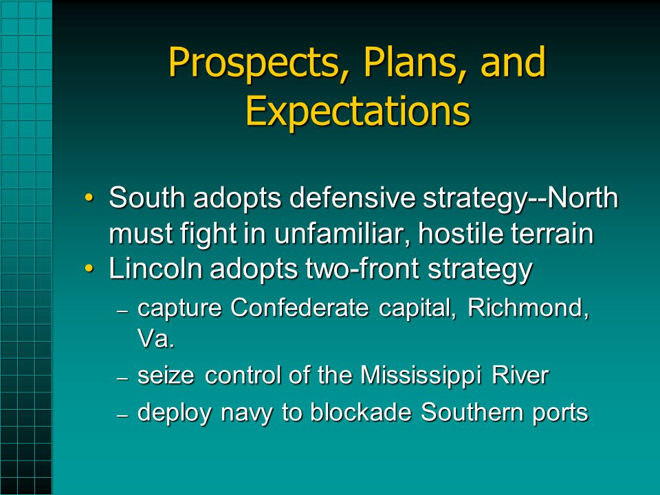 Prospects, Plans, and Expectations South adopts defensive strategy--North must fight in unfamiliar, hostile terrainSouth adopts defensive strategy--North must fight in unfamiliar, hostile terrain Lincoln adopts two-front strategyLincoln adopts two-front strategy – capture Confederate capital, Richmond, Va.