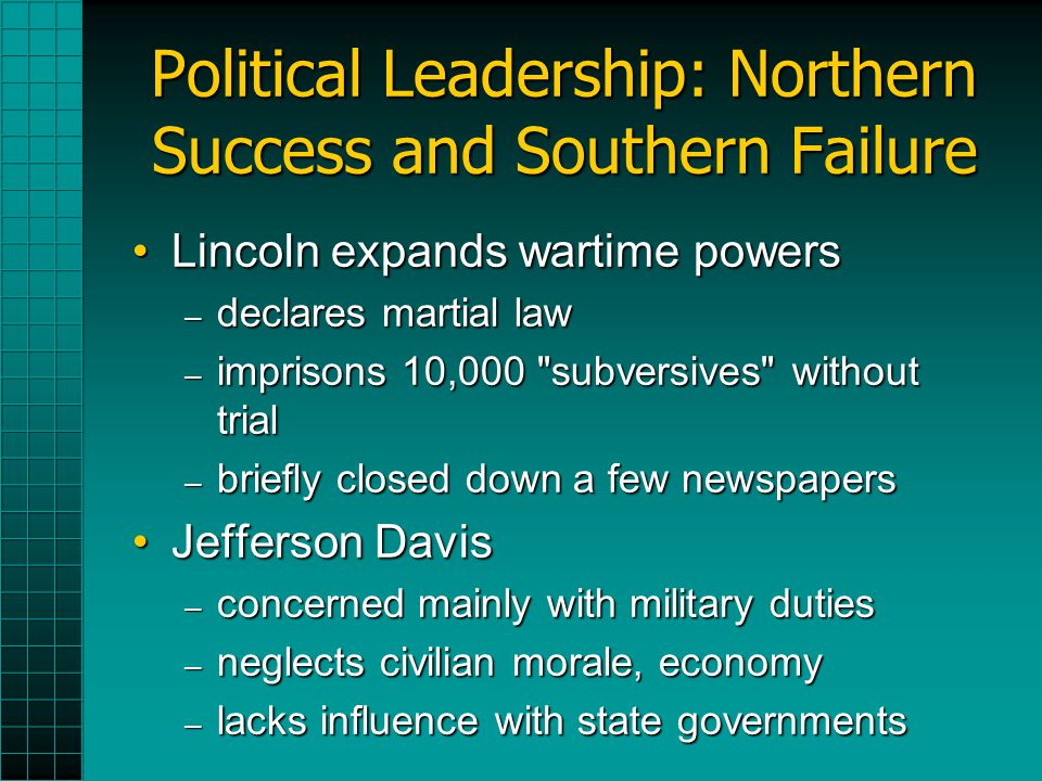 Political Leadership: Northern Success and Southern Failure Lincoln expands wartime powersLincoln expands wartime powers – declares martial law – imprisons 10,000 subversives without trial – briefly closed down a few newspapers Jefferson DavisJefferson Davis – concerned mainly with military duties – neglects civilian morale, economy – lacks influence with state governments
