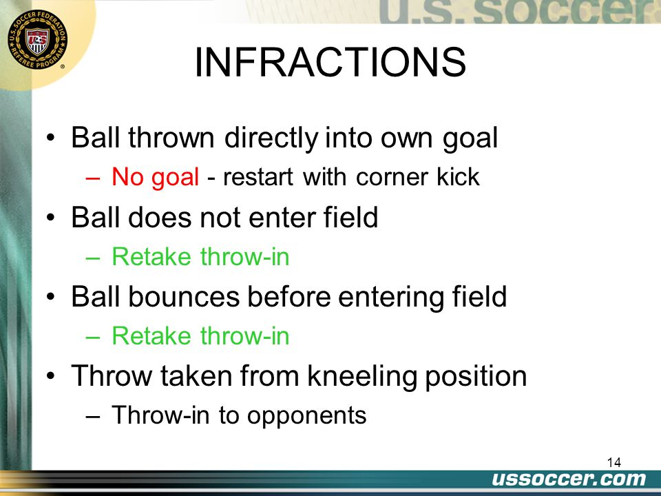 14 INFRACTIONS Ball thrown directly into own goal –No goal - restart with corner kick Ball does not enter field –Retake throw-in Ball bounces before entering field –Retake throw-in Throw taken from kneeling position –Throw-in to opponents