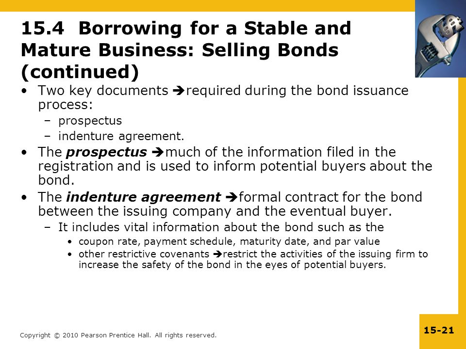 Copyright © 2010 Pearson Prentice Hall. All rights reserved. 15-21 Two key documents  required during the bond issuance process: –prospectus –indentu