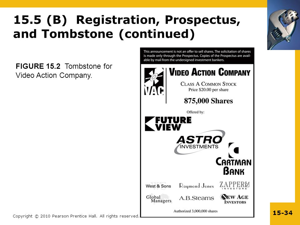 Copyright © 2010 Pearson Prentice Hall. All rights reserved. 15-34 15.5 (B) Registration, Prospectus, and Tombstone (continued) FIGURE 15.2 Tombstone