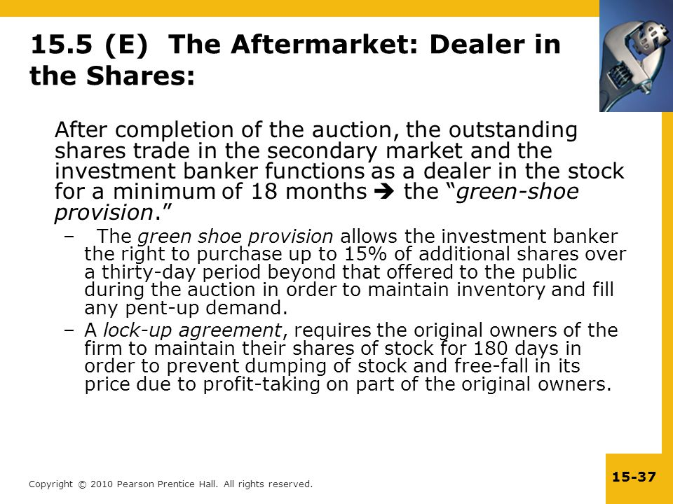Copyright © 2010 Pearson Prentice Hall. All rights reserved. 15-37 15.5 (E) The Aftermarket: Dealer in the Shares: After completion of the auction, th