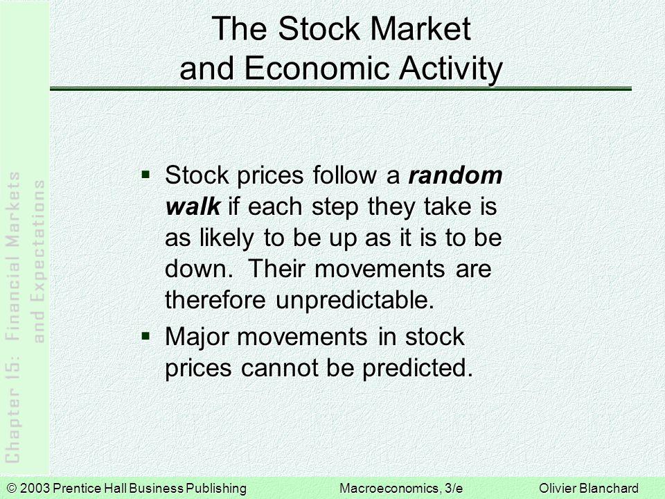 © 2003 Prentice Hall Business PublishingMacroeconomics, 3/e Olivier Blanchard The Stock Market and Economic Activity  Stock prices follow a random wa