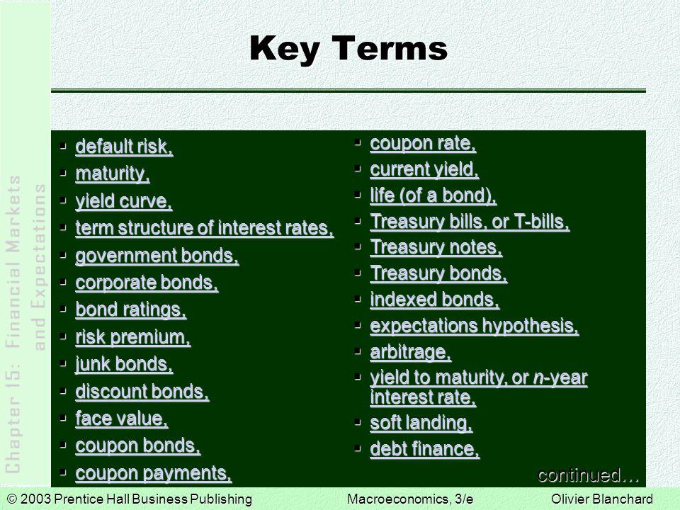 © 2003 Prentice Hall Business PublishingMacroeconomics, 3/e Olivier Blanchard Key Terms  default risk, default risk, default risk,  maturity, maturi