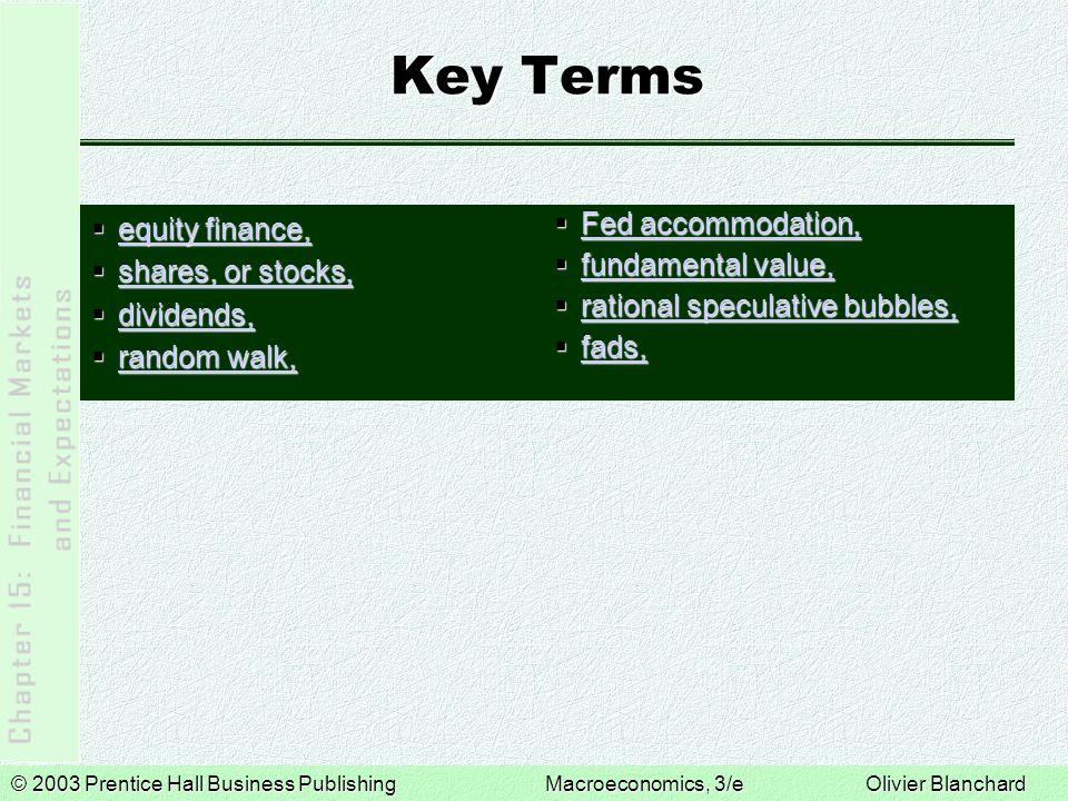 © 2003 Prentice Hall Business PublishingMacroeconomics, 3/e Olivier Blanchard Key Terms  equity finance, equity finance, equity finance,  shares, or
