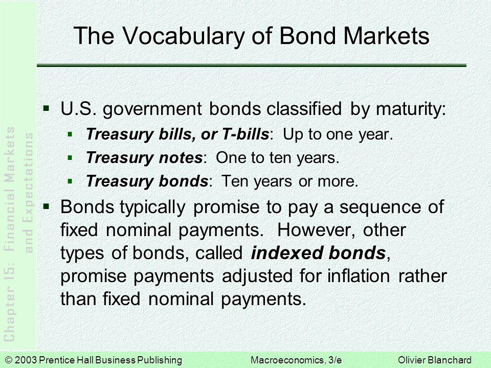© 2003 Prentice Hall Business PublishingMacroeconomics, 3/e Olivier Blanchard The Vocabulary of Bond Markets  U.S. government bonds classified by mat