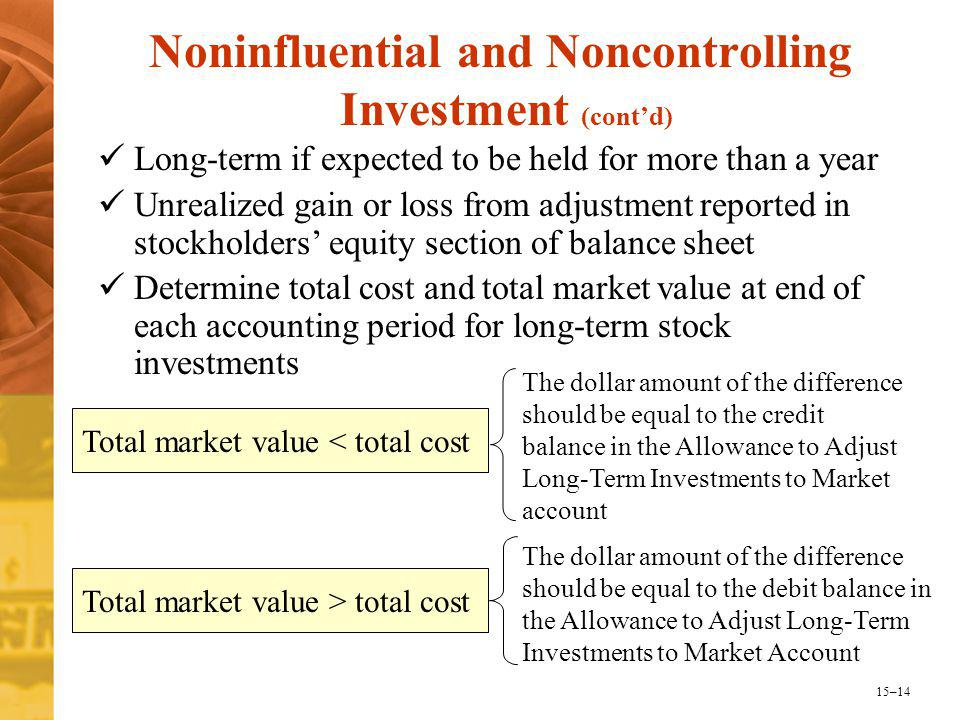 15–14 Noninfluential and Noncontrolling Investment (cont'd) Long-term if expected to be held for more than a year Unrealized gain or loss from adjustment reported in stockholders' equity section of balance sheet Determine total cost and total market value at end of each accounting period for long-term stock investments Total market value < total cost The dollar amount of the difference should be equal to the credit balance in the Allowance to Adjust Long-Term Investments to Market account Total market value > total cost The dollar amount of the difference should be equal to the debit balance in the Allowance to Adjust Long-Term Investments to Market Account