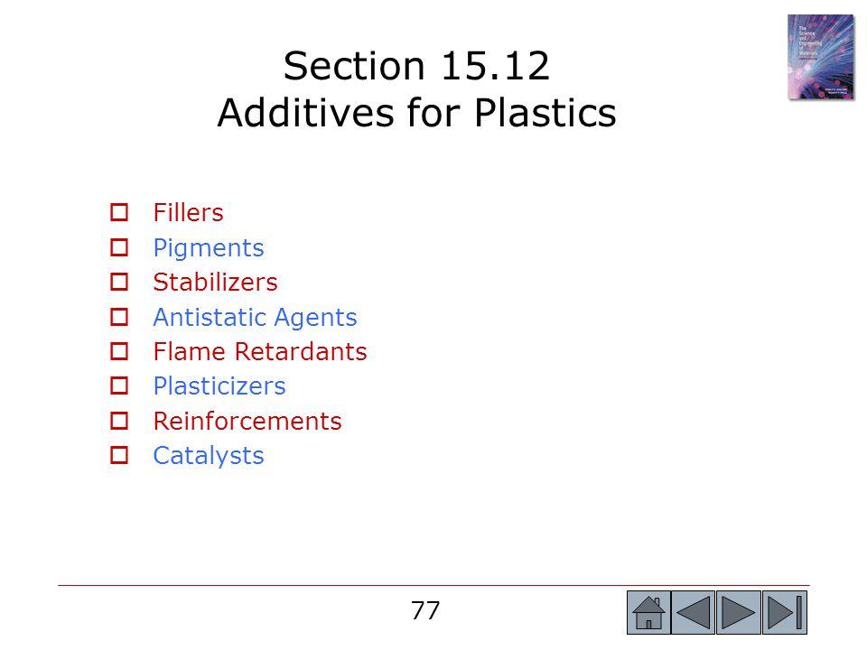 77 Section 15.12 Additives for Plastics  Fillers  Pigments  Stabilizers  Antistatic Agents  Flame Retardants  Plasticizers  Reinforcements  Ca