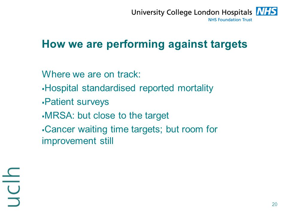 20 How we are performing against targets Where we are on track:  Hospital standardised reported mortality  Patient surveys  MRSA: but close to the