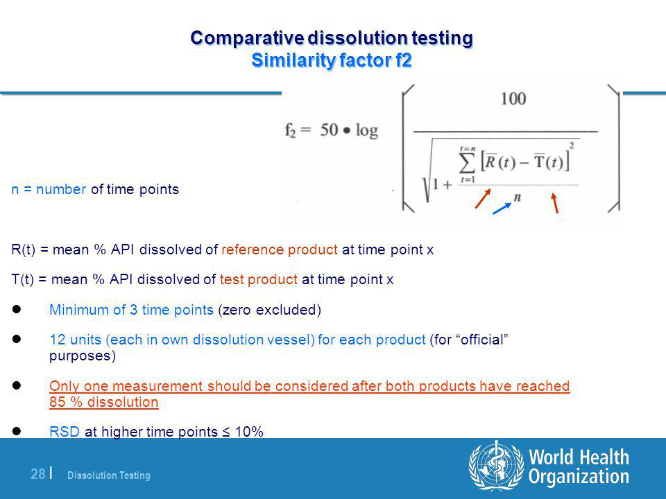 Dissolution Testing 28 | Comparative dissolution testing Similarity factor f2 n = number of time points R(t) = mean % API dissolved of reference produ