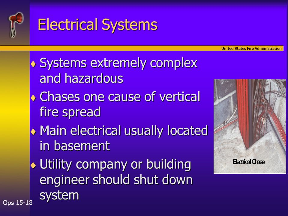 United States Fire Administration Ops 15-18 Electrical Systems  Systems extremely complex and hazardous  Chases one cause of vertical fire spread  Main electrical usually located in basement  Utility company or building engineer should shut down system