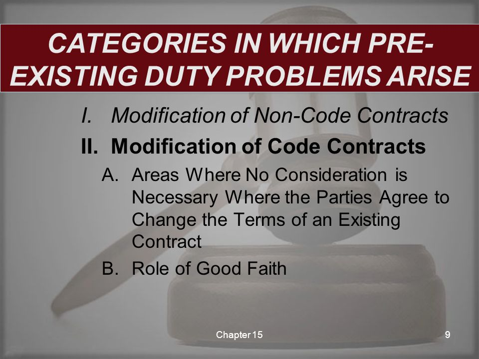 I.Modification of Non-Code Contracts II.Modification of Code Contracts III.Discharges A.Discharge of Liquidated Debts B.Discharge of Unliquidated Debts Chapter 1510 CATEGORIES IN WHICH PRE- EXISTING DUTY PROBLEMS ARISE