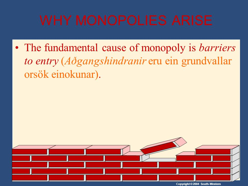 Copyright © 2004 South-Western WHY MONOPOLIES ARISE The fundamental cause of monopoly is barriers to entry (Aðgangshindranir eru ein grundvallar orsök einokunar).