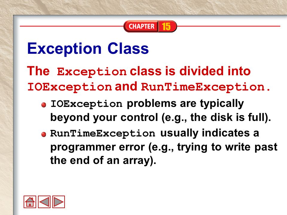 15 Custom Exceptions Creating your own exception classes allows you to throw more specific exceptions.