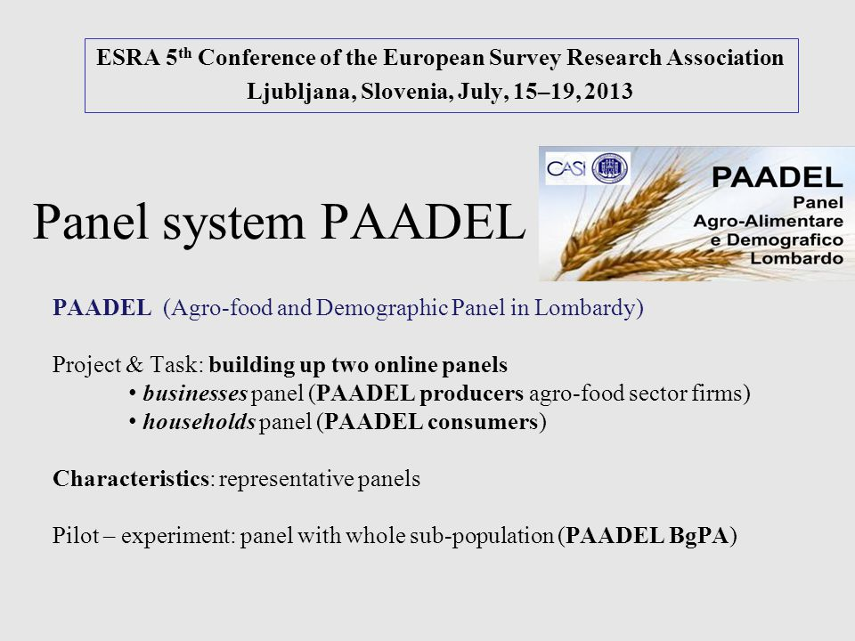 Panel system PAADEL ESRA 5 th Conference of the European Survey Research Association Ljubljana, Slovenia, July, 15–19, 2013 PAADEL (Agro-food and Demo