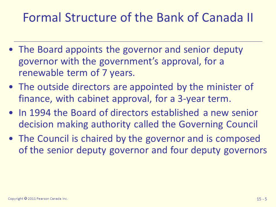 Copyright  2011 Pearson Canada Inc. 15 - 5 Formal Structure of the Bank of Canada II The Board appoints the governor and senior deputy governor with