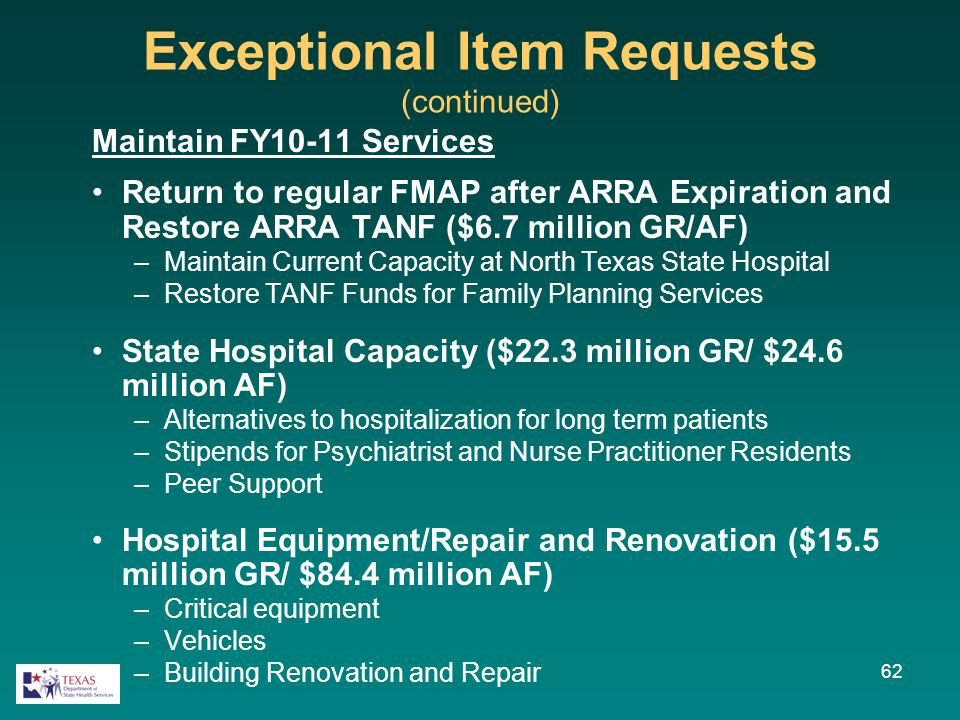 Exceptional Item Requests (continued) Maintain FY10-11 Services Return to regular FMAP after ARRA Expiration and Restore ARRA TANF ($6.7 million GR/AF) –Maintain Current Capacity at North Texas State Hospital –Restore TANF Funds for Family Planning Services State Hospital Capacity ($22.3 million GR/ $24.6 million AF) –Alternatives to hospitalization for long term patients –Stipends for Psychiatrist and Nurse Practitioner Residents –Peer Support Hospital Equipment/Repair and Renovation ($15.5 million GR/ $84.4 million AF) –Critical equipment –Vehicles –Building Renovation and Repair 62