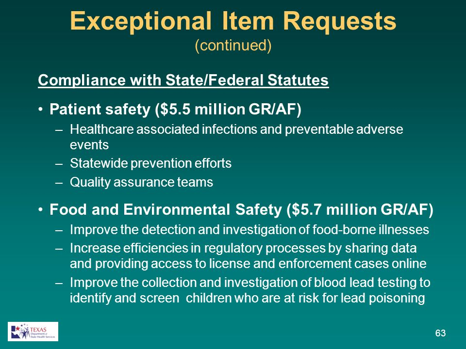 Exceptional Item Requests (continued) Compliance with State/Federal Statutes Patient safety ($5.5 million GR/AF) –Healthcare associated infections and